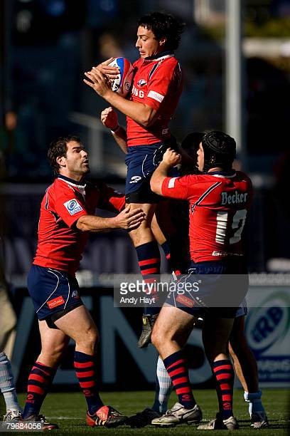 Pablo Mainguyague of Chile jumps for the ball against Argentina during the Rugby Sevens at Petco Park on February 9 2008 in San Diego California
