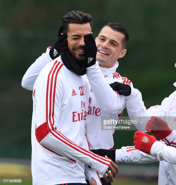 Pablo Mari and Granit Xhaka of Arsenal during a training session at London Colney on March 10 2020 in St Albans England