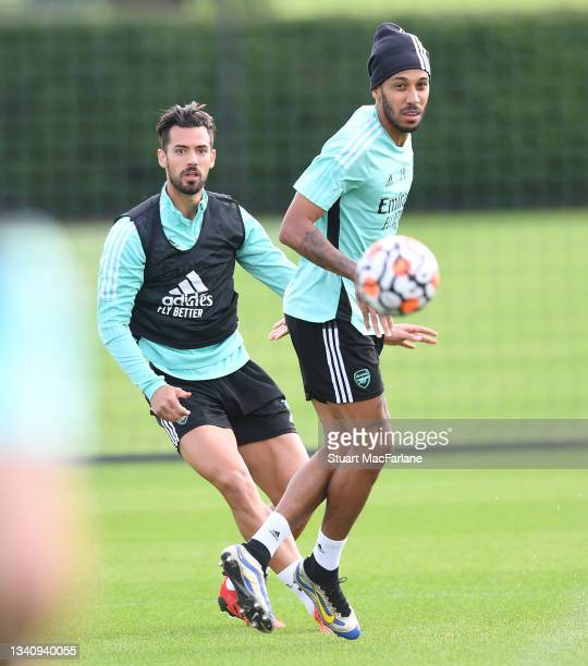 Pablo Mari and Pierre-Emerick Aubameyang of Arsenal during a training session at London Colney on September 17, 2021 in St Albans, England.