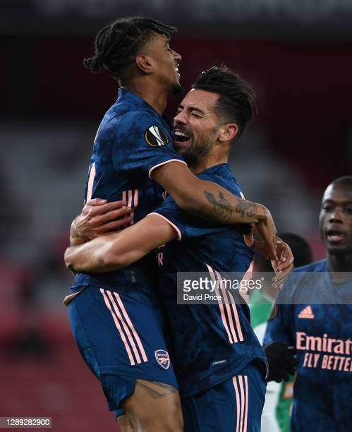 Pablo Mari celebrates scoring Arsenal's 2nd goal with Reiss Nelson during the UEFA Europa League Group B stage match between Arsenal FC and Rapid...