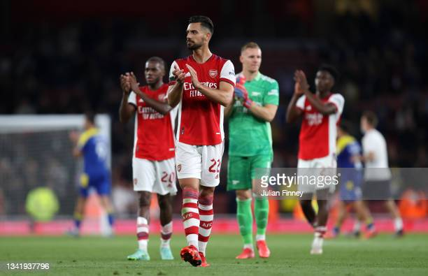 Pablo Mari of Arsenal applauds fans after his sides victory in the Carabao Cup Third Round match between Arsenal and AFC Wimbledon at Emirates...