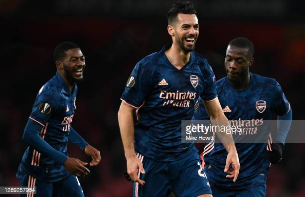 Pablo Mari of Arsenal celebrates with Nicolas Pepe and Ainsley Maitland-Niles after scoring their team's second goal during the UEFA Europa League...