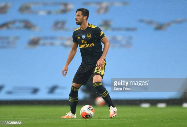 Pablo Mari of Arsenal controls the ball during the Premier League match between Manchester City and Arsenal FC at Etihad Stadium on June 17, 2020 in...