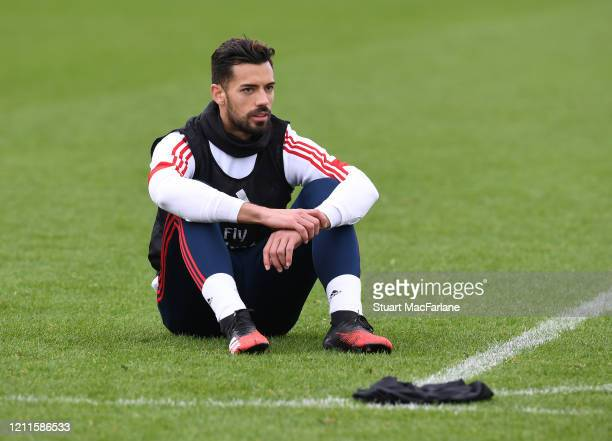 Pablo Mari of Arsenal during a training session at London Colney on March 10 2020 in St Albans England