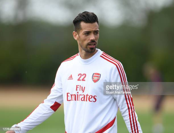 Pablo Mari of Arsenal during a training session at London Colney on May 22 2020 in St Albans England