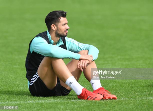 Pablo Mari of Arsenal during a training session at London Colney on September 17, 2021 in St Albans, England.
