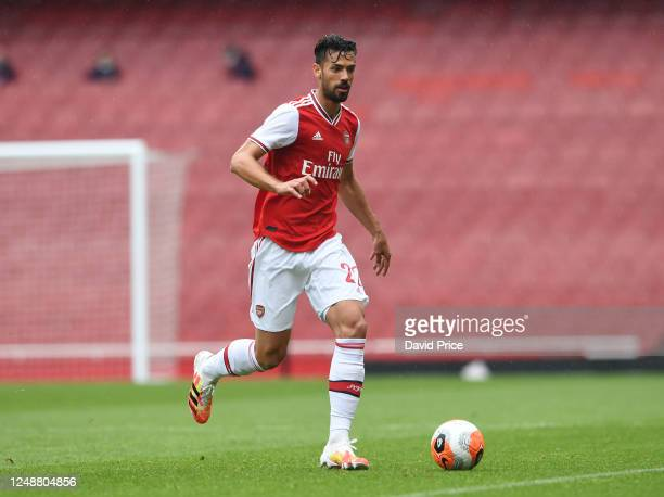 Pablo Mari of Arsenal during the friendly match between Arsenal and Brentford at Emirates Stadium on June 10 2020 in London England