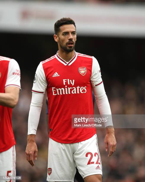 Pablo Mari of Arsenal during the Premier League match between Arsenal FC and West Ham United at Emirates Stadium on March 7 2020 in London United...