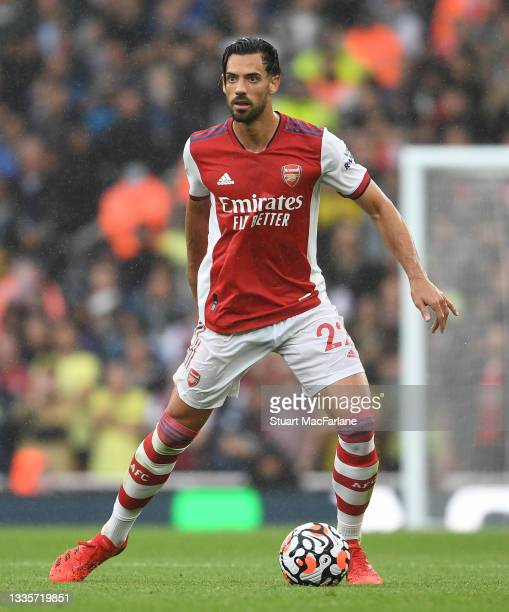 Pablo Mari of Arsenal during the Premier League match between Arsenal and Chelsea at Emirates Stadium on August 22, 2021 in London, England.
