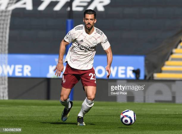 Pablo Mari of Arsenal during the Premier League match between Leicester City and Arsenal at The King Power Stadium on February 28, 2021 in Leicester,...