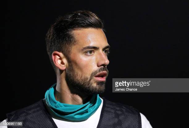 Pablo Mari of Arsenal FC looks on prior to the Premier League 2 match between Arsenal FC U23s and Chelsea FC U23s at Meadow Park on February 17, 2020...