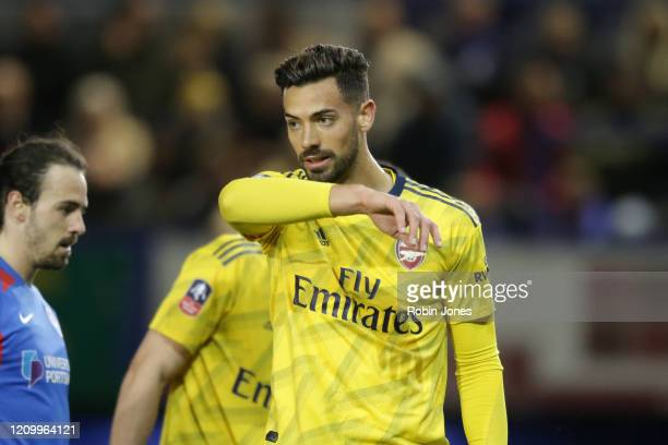 Pablo Mari of Arsenal gestures during the FA Cup Fifth Round match between Portsmouth FC and Arsenal FC at Fratton Park on March 02 2020 in...