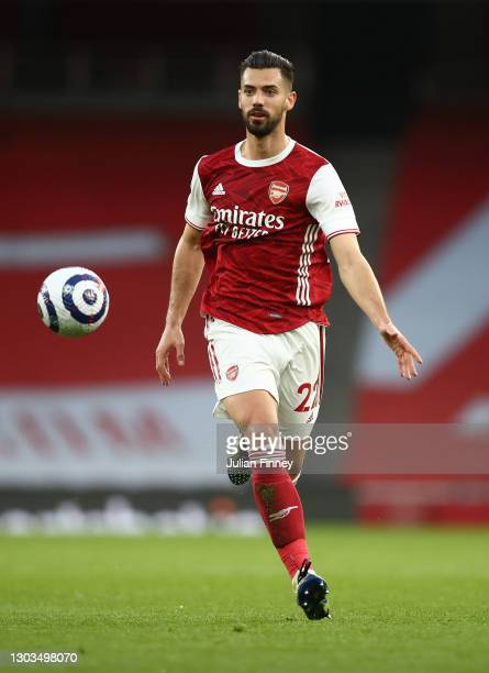 Pablo Mari of Arsenal in action during the Premier League match between Arsenal and Manchester City at Emirates Stadium on February 21, 2021 in...