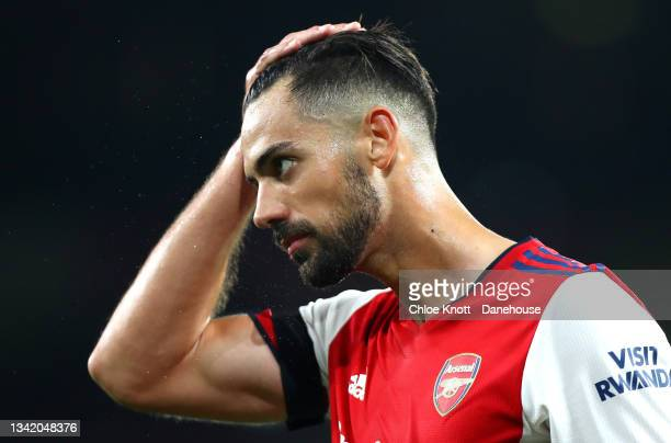 Pablo Mari of Arsenal looks on during the Carabao Cup Third Round match between Arsenal and AFC Wimbledon at Emirates Stadium on September 22, 2021...
