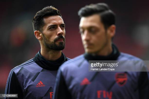 Pablo Mari of Arsenal looks on during the warm up prior to the Premier League match between Arsenal FC and West Ham United at Emirates Stadium on...