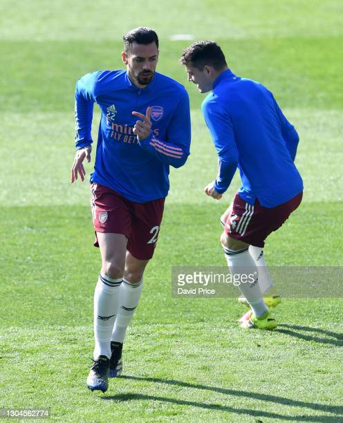 Pablo Mari of Arsenal warms up before the Premier League match between Leicester City and Arsenal at The King Power Stadium on February 28, 2021 in...