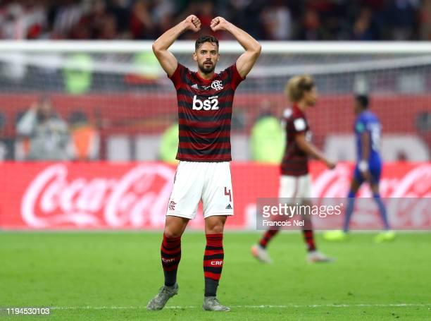 Pablo Mari of CR Flamengo celebrates victory after the FIFA Club World Cup semi-final match between CR Flamengo and Al Hilal FC at Khalifa...