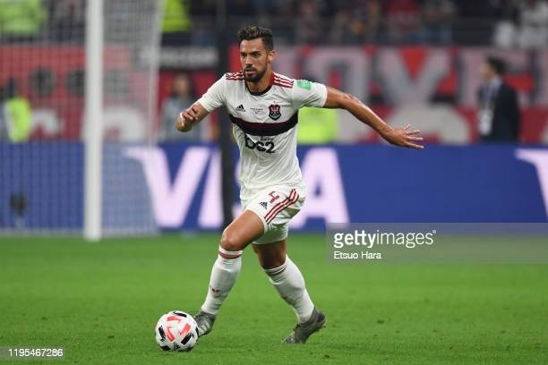 Pablo Mari of Flamengo in action during the FIFA Club World Cup Final between Liverpool and Flamengo at Khalifa International Stadium on December 21,...