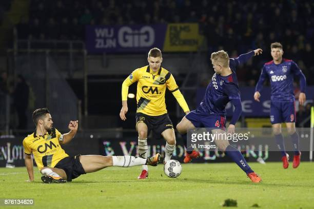 Pablo Mari Villar of NAC Breda Karol Mets of NAC Breda Matthijs de Ligt of Ajax Klaas Jan Huntelaar of Ajax during the Dutch Eredivisie match between...