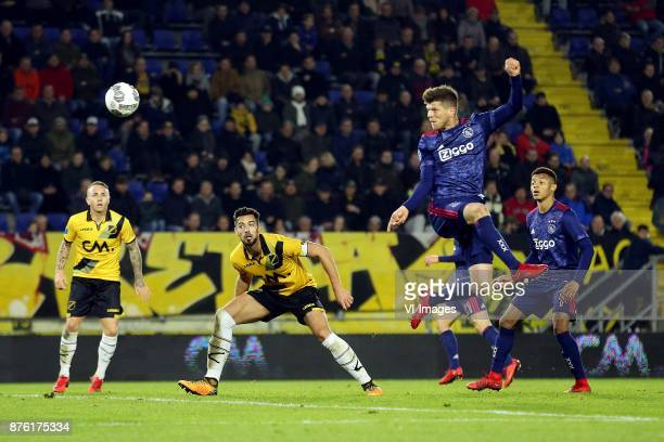 Pablo Mari Villar of NAC Breda Klaas Jan Huntelaar of Ajax during the Dutch Eredivisie match between NAC Breda and Ajax Amsterdam at the Rat Verlegh...