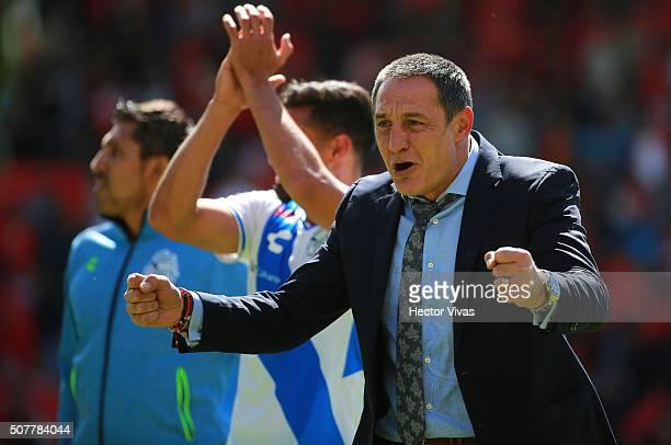 Pablo Marini head coach of Puebla celebrates during the fourth round match between Toluca and Puebla as part of the Clausura 2016 Liga MX at Nemesio...