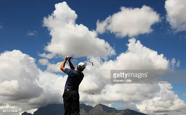 Pablo Martin of Spain tees off on the fourth hole during the second round of the South African Open Championship at Pearl Valley Golf Club on...