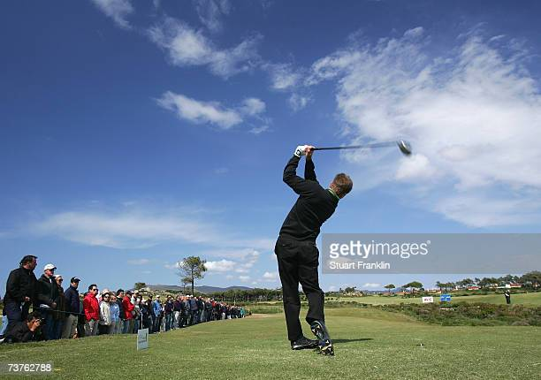 Pablo MartinBenavides of Spain plays his tee shot on the 13th hole during the final round of the Estoril Open de Portugal at The Quinta da Marinha...