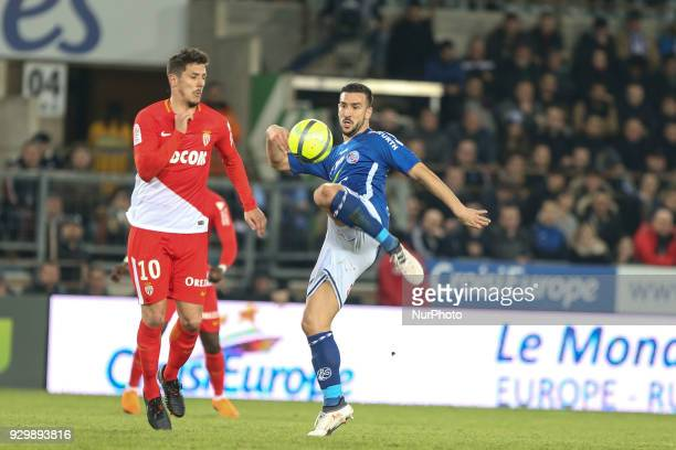 Pablo Martinez 4 Jovetic Steven 10 during French Ligue 1 football match between Strasbourg and Monaco on March 9 2018 at the Meinau stadium in...