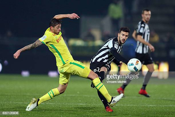 Pablo Martinez of Angers and Emiliano Sala of Nantes during the French Ligue 1 match between Angers and Nantes on December 16 2016 in Angers France