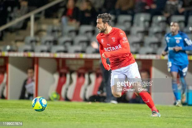 January 11: Pablo Martinez of Nimes in action during the Nimes Olympique V Stade de Reims, French Ligue 1, regular season match at Stade des...