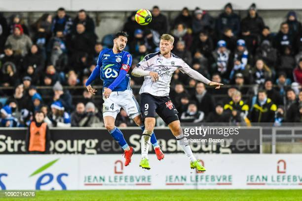 Pablo Martinez of Strasbourg and Andreas Cornelius of Bordeaux during the Ligue 1 match between Strasbourg and Bordeaux at La Meinau Stadium on...