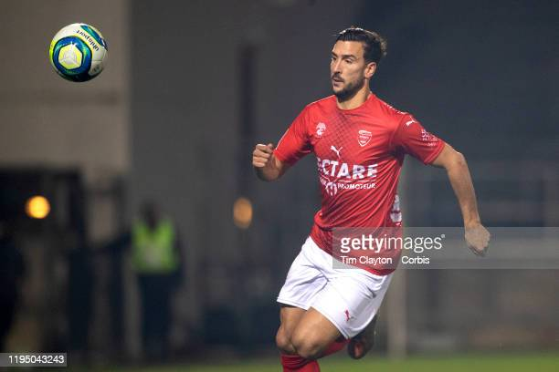 December 14: Pablo Martínez of Nimes in action during the Nimes V Nantes, French Ligue 1, regular season match at Stade des Costieres on December...
