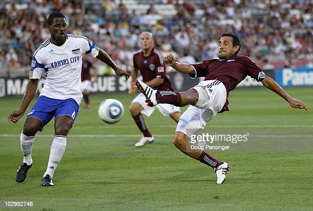 Pablo Mastroeni of the Colorado Rapids gets off a shot against Shavar Thomas of the Kansas City Wizards at Dick's Sporting Goods Park on July 17 2010...