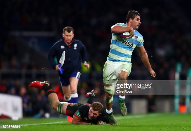 Pablo Matera of Argentina is tackled by Sam Underhill of England during the Old Mutual Wealth Series match between England and Argentina at...