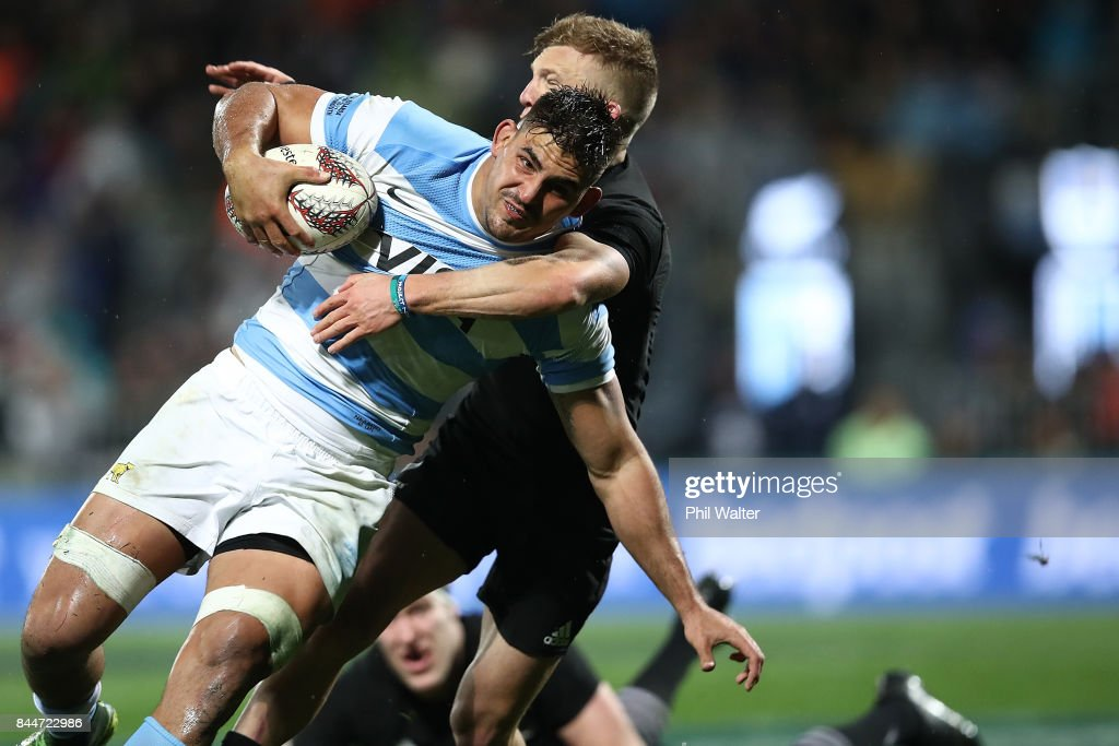 Pablo Matera of Argentina is tackled during The Rugby Championship match between the New Zealand All Blacks and Argentina at Yarrow Stadium on September 9, 2017 in New Plymouth, New Zealand.