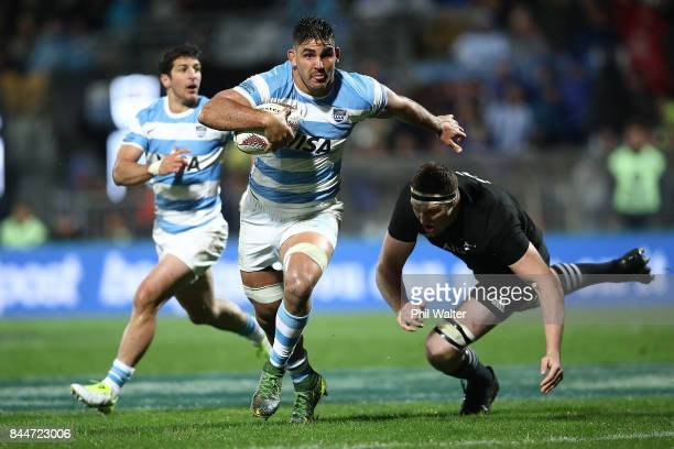 Pablo Matera of Argentina is tackled during The Rugby Championship match between the New Zealand All Blacks and Argentina at Yarrow Stadium on...