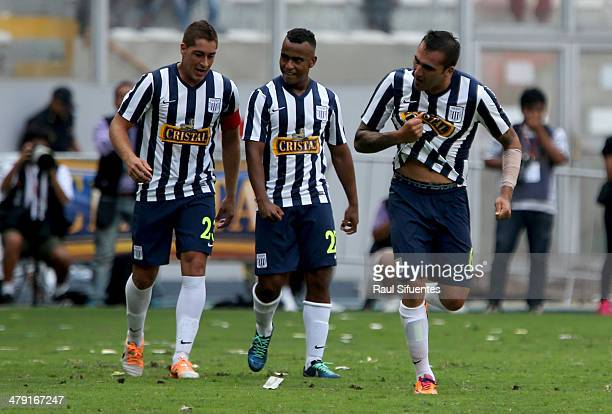 Pablo Miguez of Alianza Lima celebrates after scoring his team's second goal during a match between Sporting Cristal and Alianza Lima as part of...
