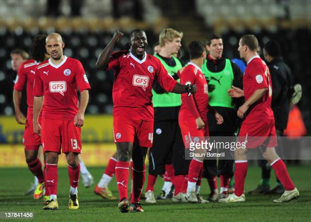 Pablo Mills of Crawley Town celebrates at the end of the FA Cup with Budweiser Fourth Round match between Hull City and Crawley Town at KC Stadium on...