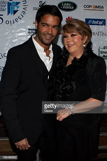 Pablo Montero and Lolita Ayala attend a press conference on the 25 years of the charity foundation Solo Por Ayudar at Bosque de Chapultepec on...