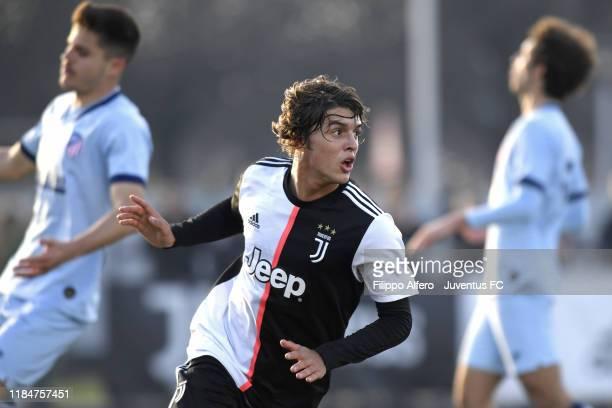 Pablo Moreno of Juventus celebrates after scoring a goal during the UEFA Youth League match between Juventus U19 and Atletico Madrid U19 on November...