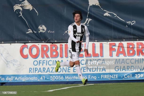 Pablo Moreno of Juventus U19 celebrates after scoring a goal during the match between Empoli U19 and Juventus U19 on December 1 2018 in Empoli Italy