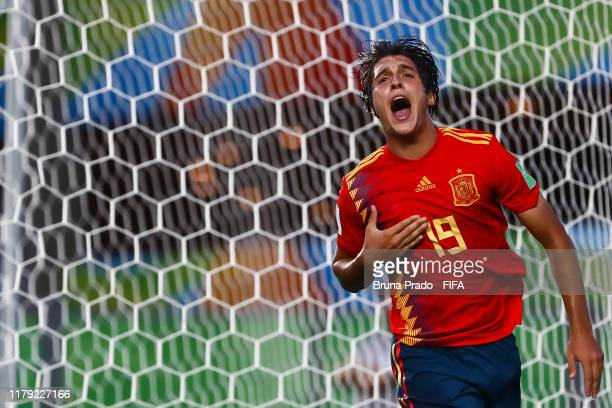 Pablo Moreno of Spain celebrates after scoring a gol during the FIFA U17 Men's World Cup Brazil 2019 group E match Spain and Tajikistan at Estadio...