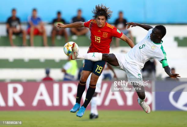Pablo Moreno of Spain in action against Cheikhou Ndiaye of Senegal during the FIFA U17 World Cup Brazil 2019 round of 16 match between Spain and...