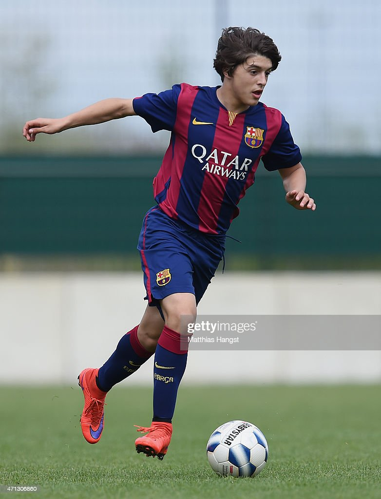 Pablo Moreno Taboada of Barcelona controls the ball during the Final of the Santander Cup for U13 teams between FC Barcelona and VfB Stuttgart at Borussia Park Fohlenplatz on April 26, 2015 in Moenchengladbach, Germany.