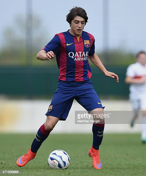 Pablo Moreno Taboada of Barcelona controls the ball during the Final of the Santander Cup for U13 teams between FC Barcelona and VfB Stuttgart at...