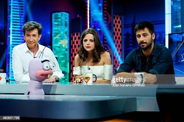 Pablo Motos actress Macarena Gomez and actor Hugo Silva attend 'El Hormiguero' Tv show at Vertice Studio on December 18 2014 in Madrid Spain