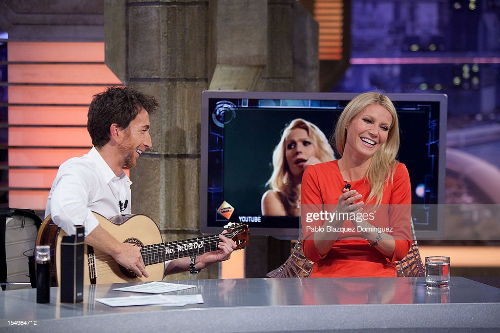 Pablo Motos and actress Gwyneth Paltrow attends 'El Hormiguero' Tv Show at Vertice Studios on October 29, 2012 in Madrid, Spain.