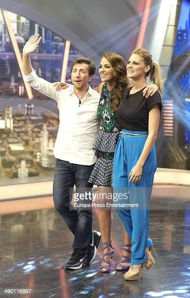Pablo Motos and actresses Paula Echevarria and Amaia Salamanca attend 'El Hormiguero' TV show on May 12, 2014 in Madrid, Spain.