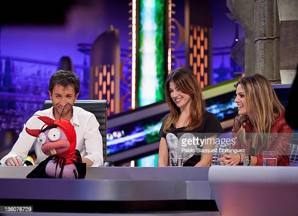 Pablo Motos and actresses Ursula Corbero and Amaia Salamanca attend 'El Hormiguero' Tv Show at Vertice Studios on December 22, 2011 in Madrid, Spain.