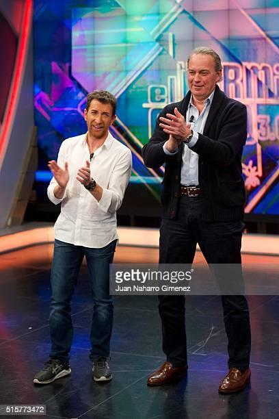 Pablo Motos and Bertin Osborne attend 'El Hormiguero' Tv show at Vertice Studio on March 15 2016 in Madrid Spain